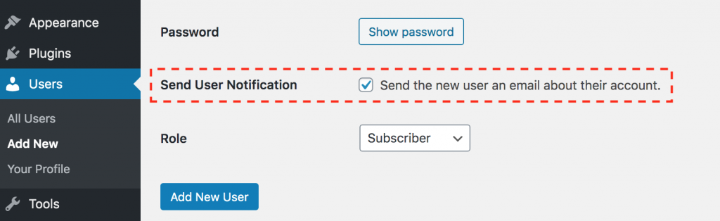 Screenshot of WP admin screen highlighting how to send a new user a account setup notification.